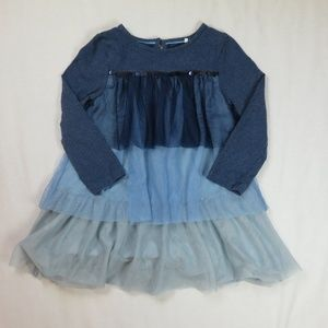 Mini Boden 3T 4T 4 Blue Dress Tulle Sequin Holiday